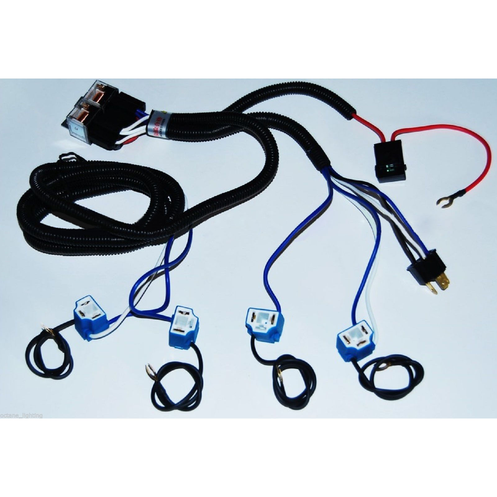 Ceramic H4 Relay Wiring Harness 4 Headlight Headlamp Light Bulb Socket  Plugs 4X6