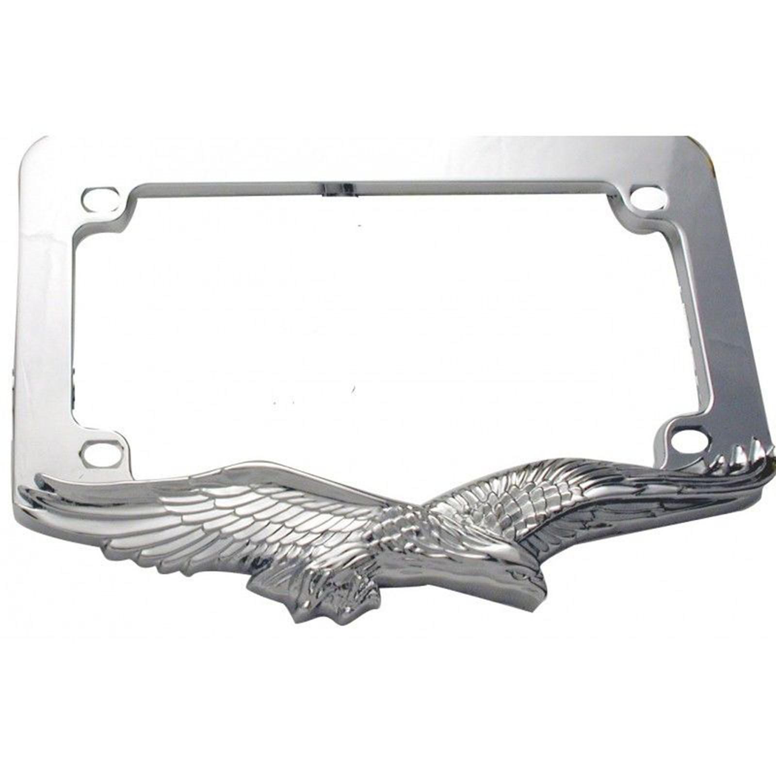 Chrome Eagle License Plate Tag Trim Frame Harley