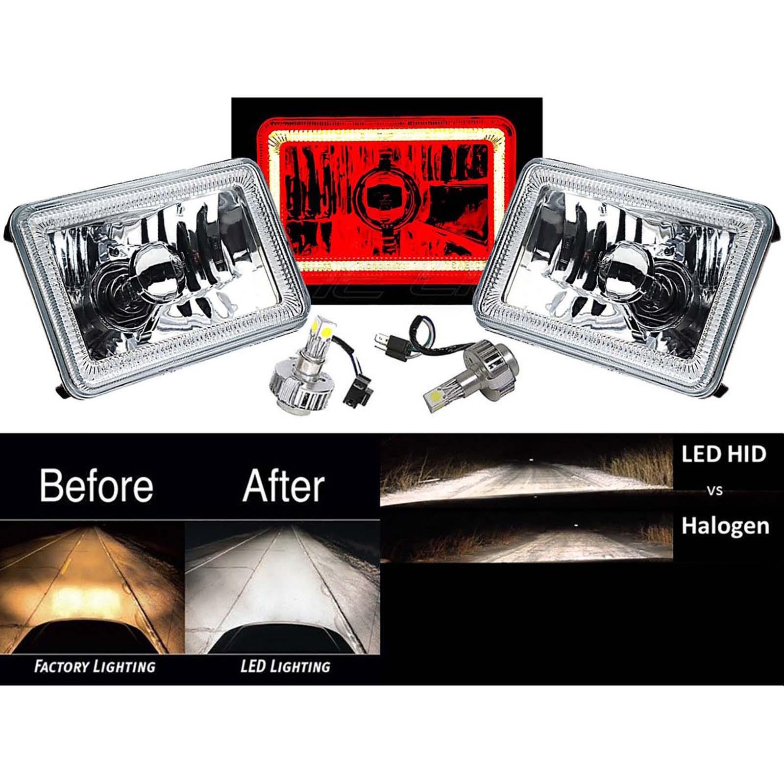 "4X6/"" Red LED COB Halo Crystal Glass//Metal Headlight H4 6K HID Light Bulb Pair"