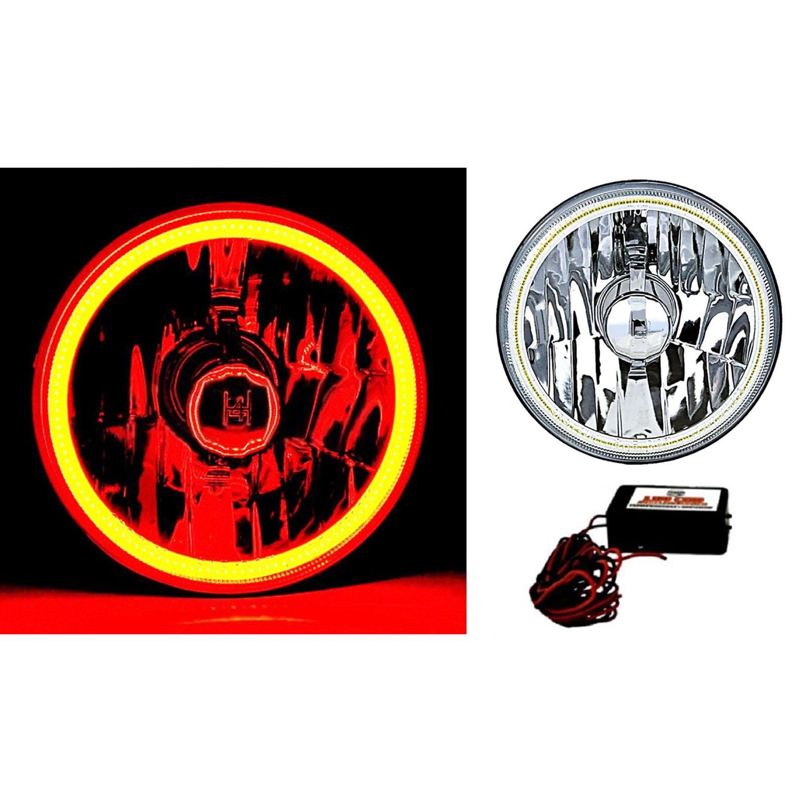 5-3//4 Halogen Amber LED Ring Halo Angel Eyes Headlight Headlamp Light Bulbs Pair