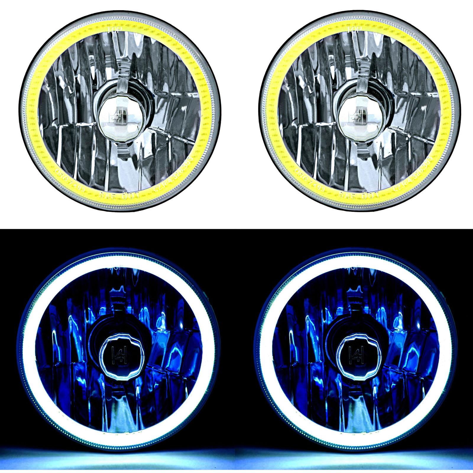 5-3//4 Halogen Blue LED Ring Halo Angel Eyes Headlight Headlamp Light Bulbs Pair