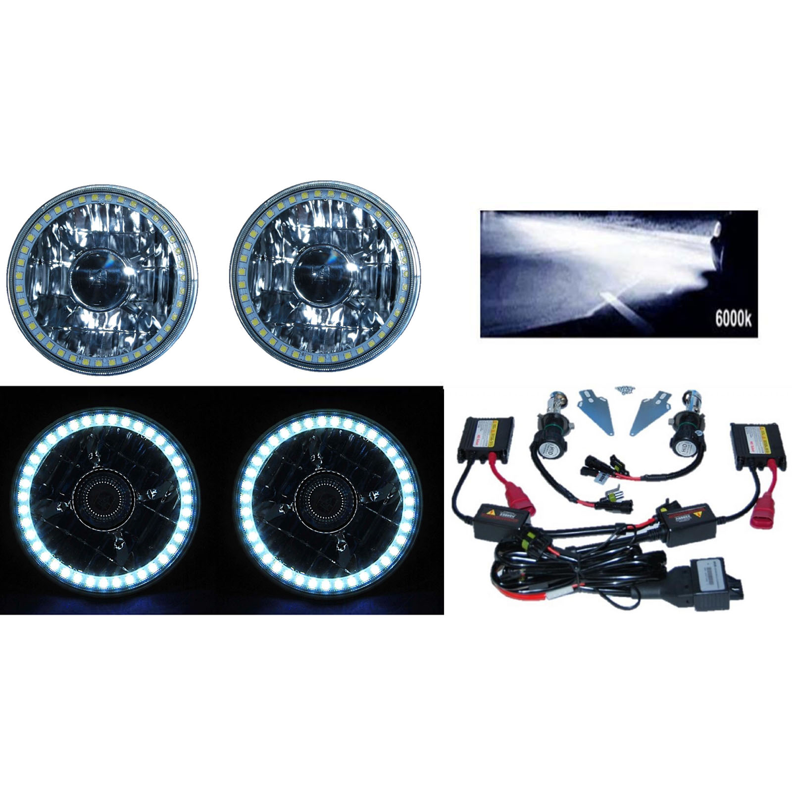 5-3//4 Clear White SMD LED Halo Halogen Light Bulb Metal Headlight Angel Eye Pair