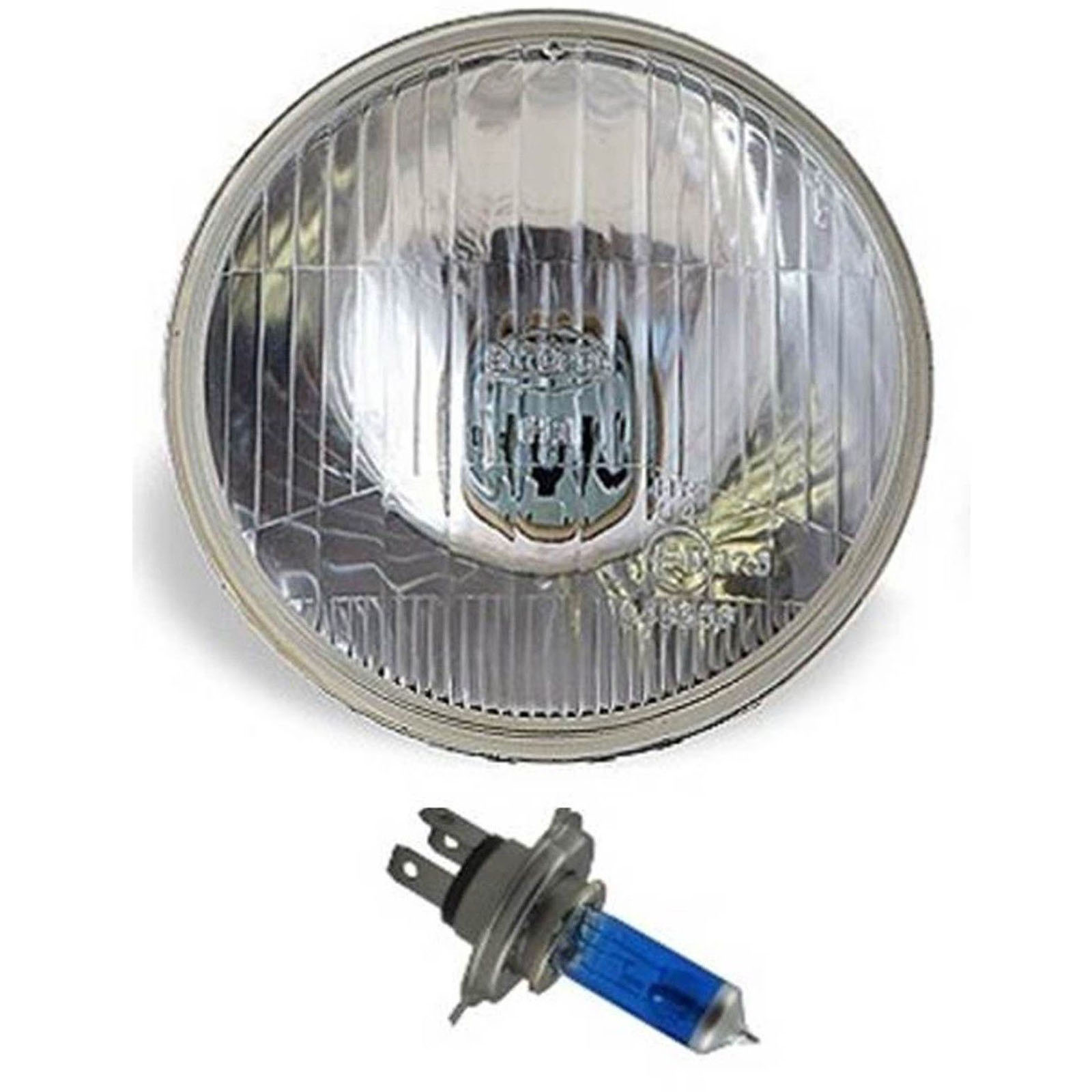 "7"" Halogen Semi Sealed Beam Stock Headlight Head Lamp Bulbs H4 100/90W Pair 4"