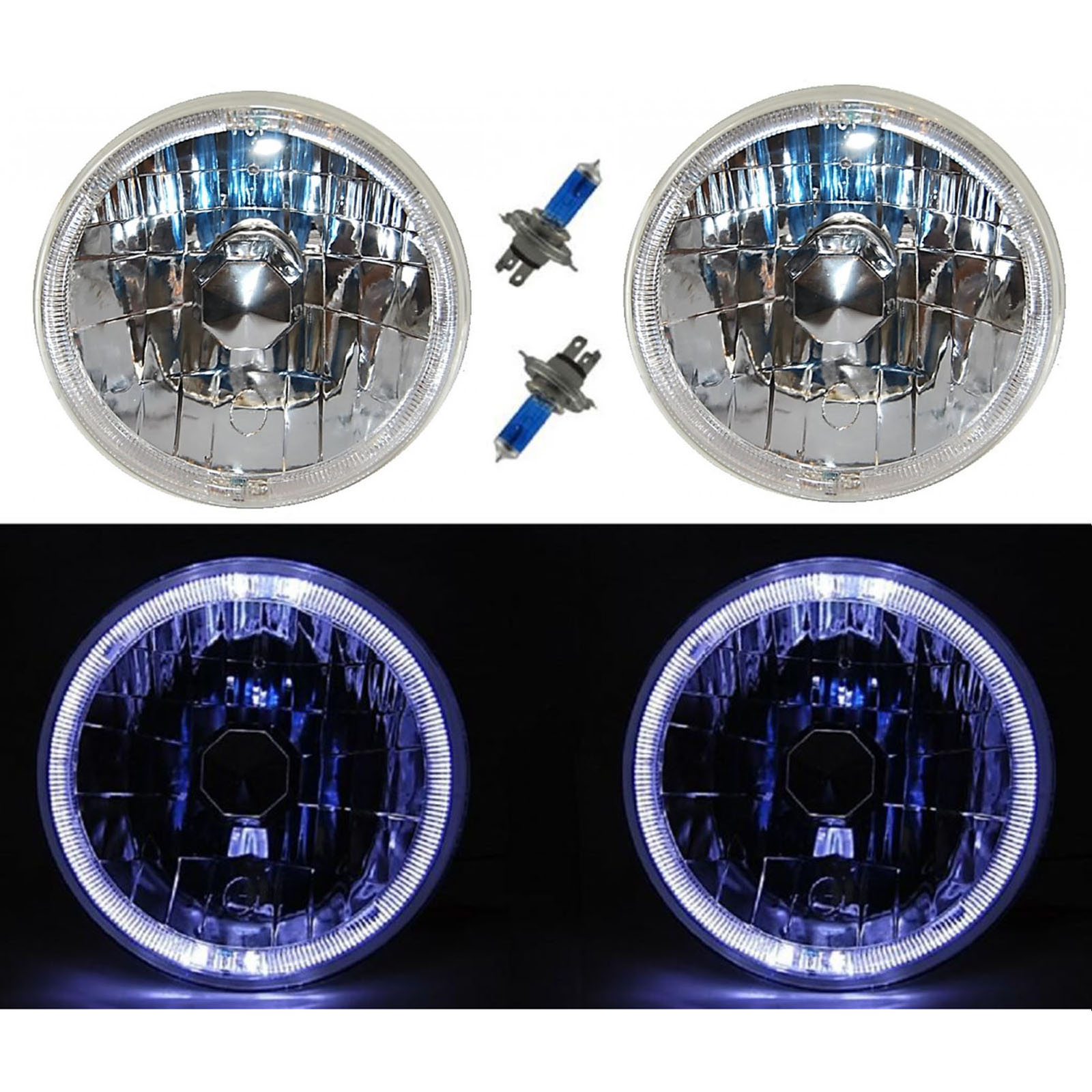 """7/"""" H6024 Pair Round Black Clear Projector Headlights Lamps+City Lights+H4 Bulbs"""