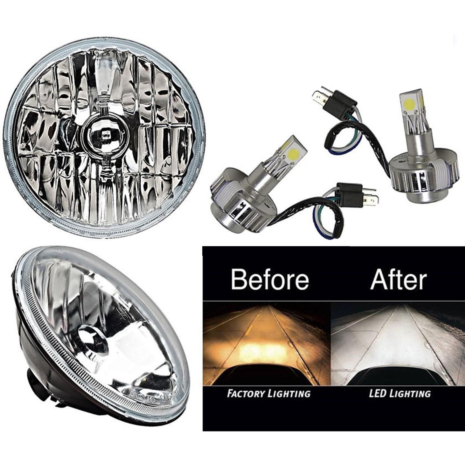 7 Crystal Glass Metal Headlight Smd Cob 360 Led Light Bulb Headlamp Pair Ebay