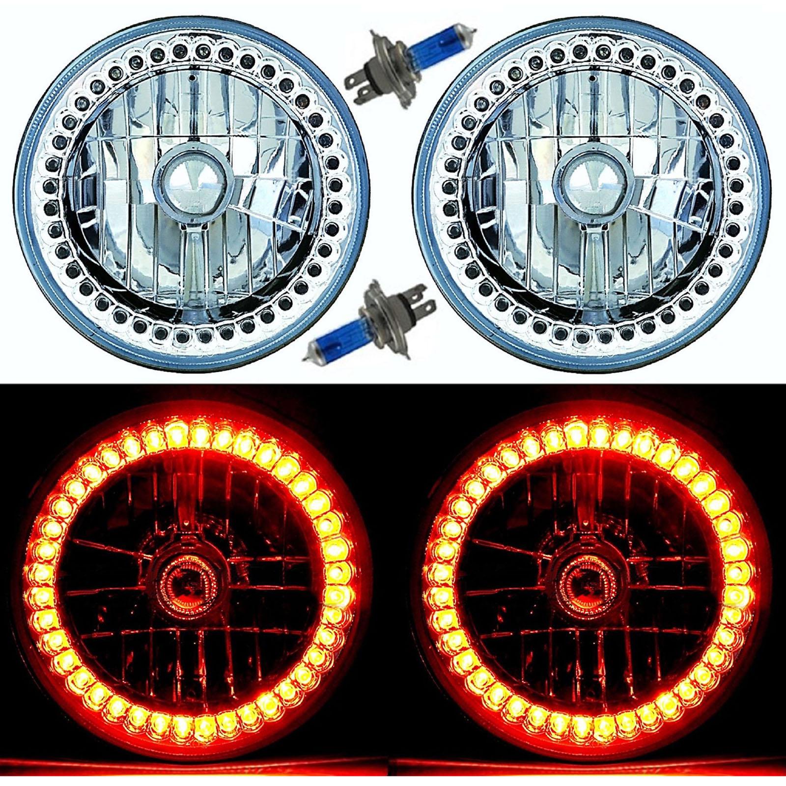 """7/"""" Halogen White Sc LED Halo Ring Angel Eye Headlight Headlamp Light Bulb Pair"""