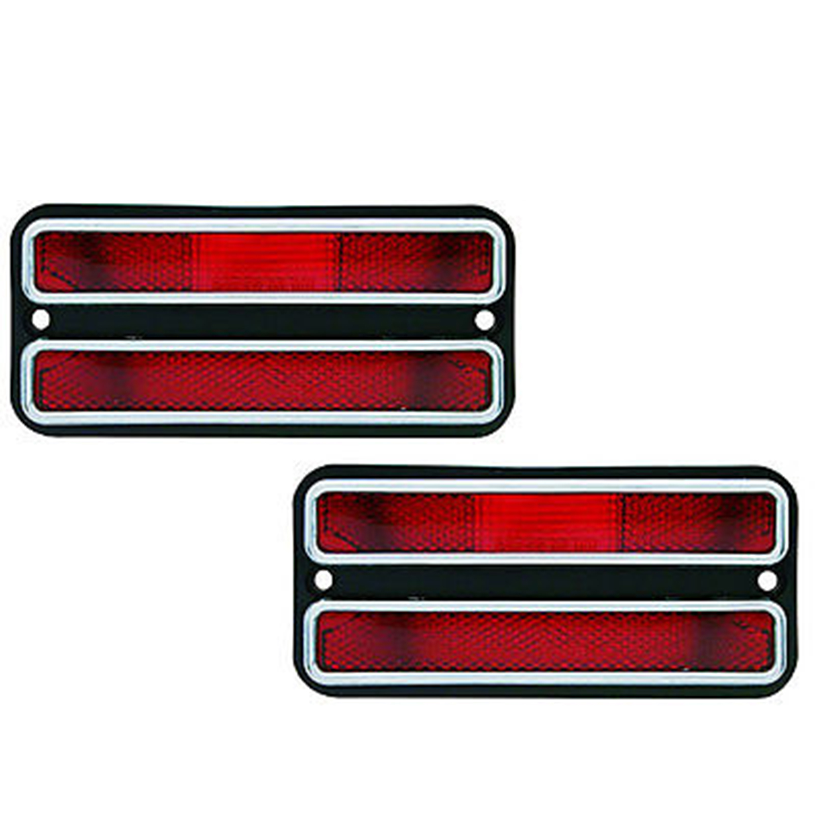 1968-1972 Chevy Truck Pickup Rear Side Marker Lamp Lens W//Trim RED PAIR