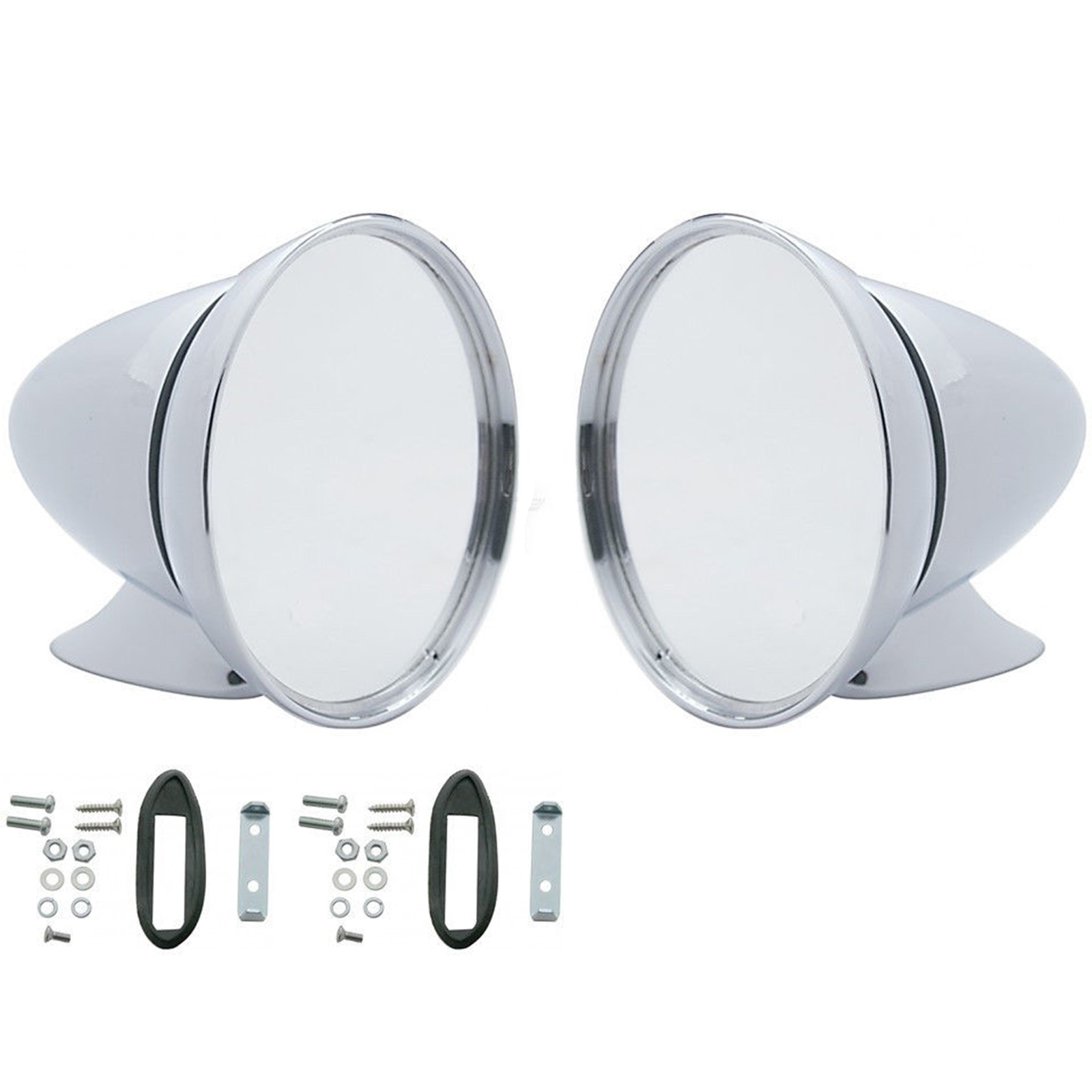 Talbot Style SET of 2 Universal Mirrors Chrome