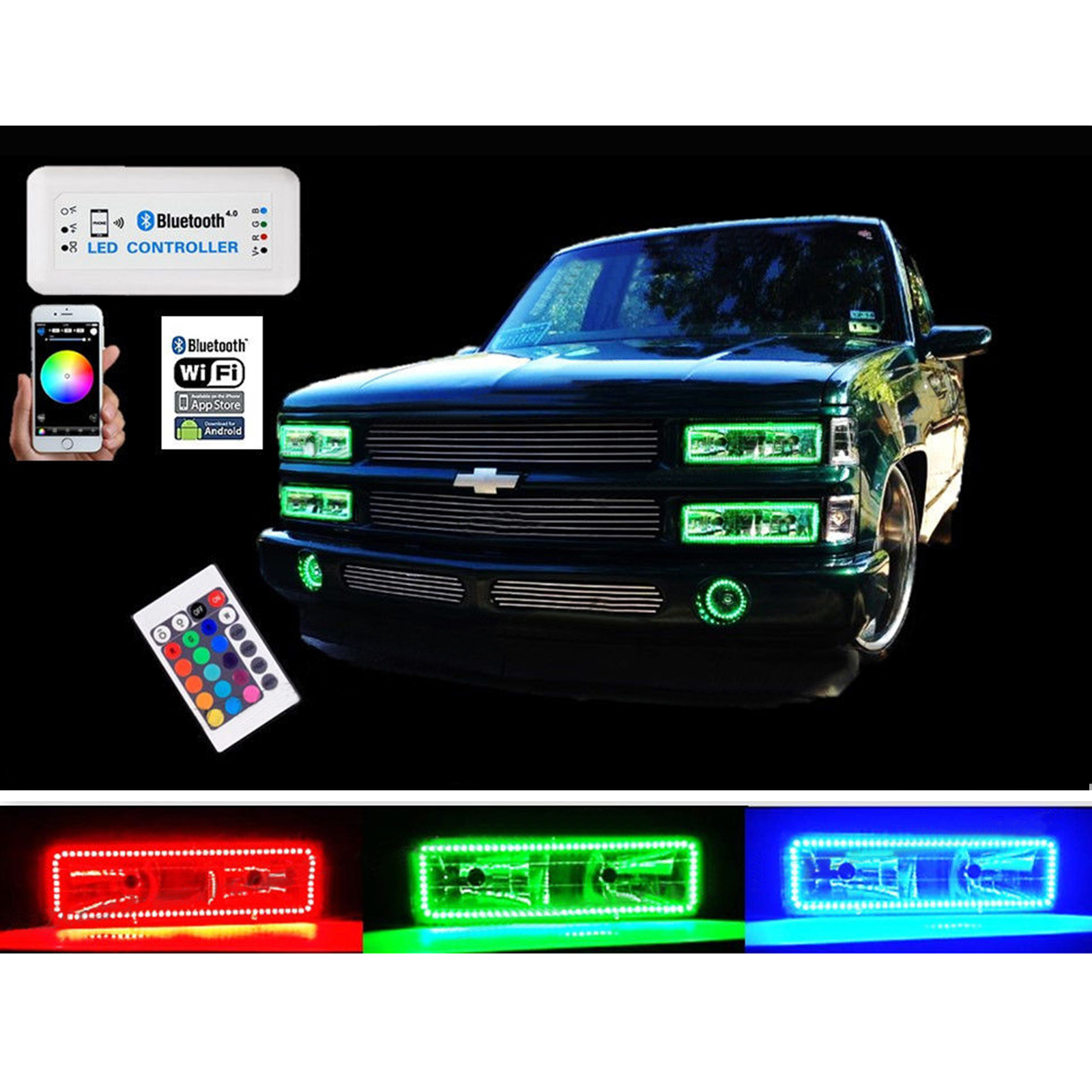 Details about 1988-98 Chevy GMC Multi-Color Changing LED RGB Headlight on