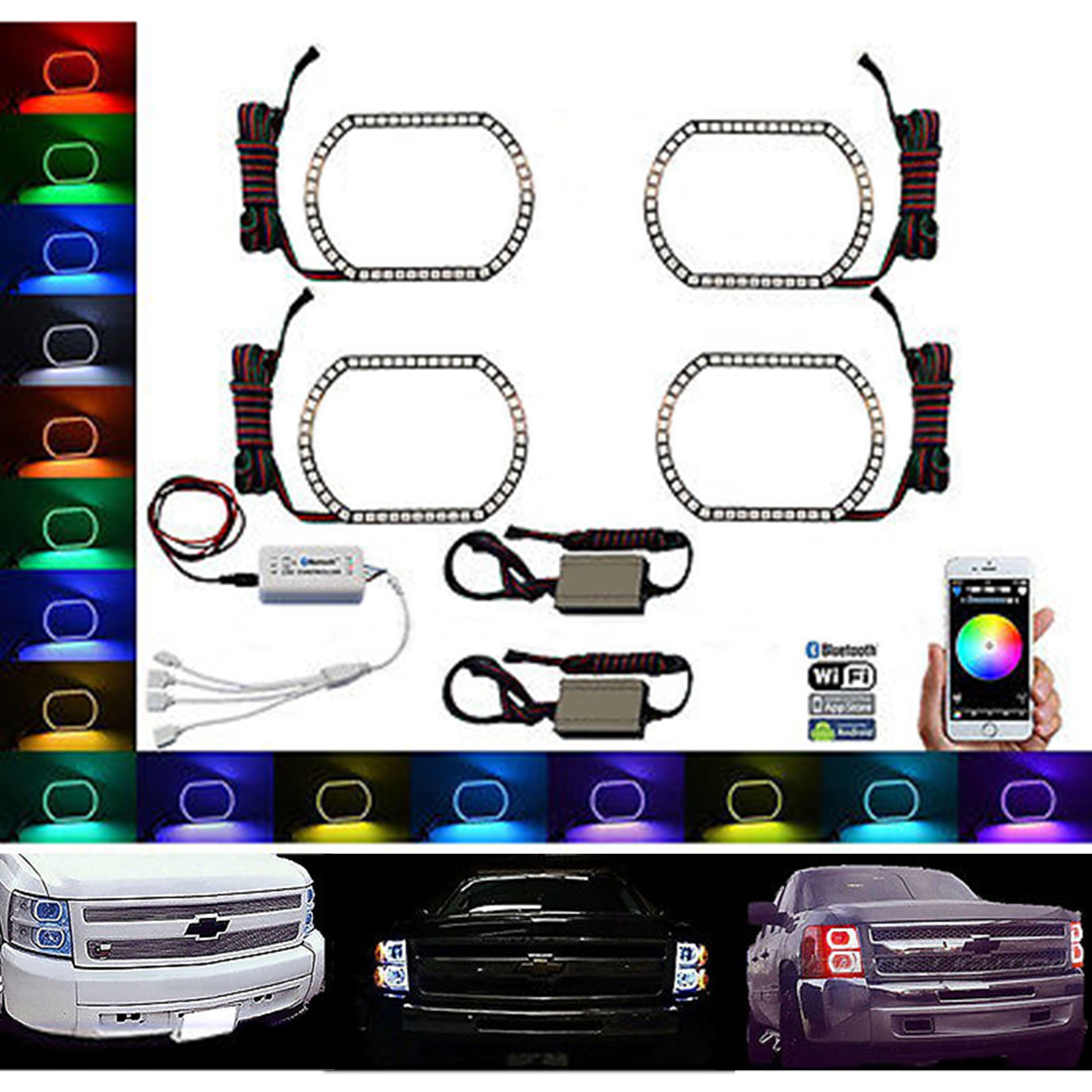 Details about 11-11 Chevy Silverado Multi-Color LED RGB Headlight Halo Ring  BLUETOOTH Set | multi chevrolet