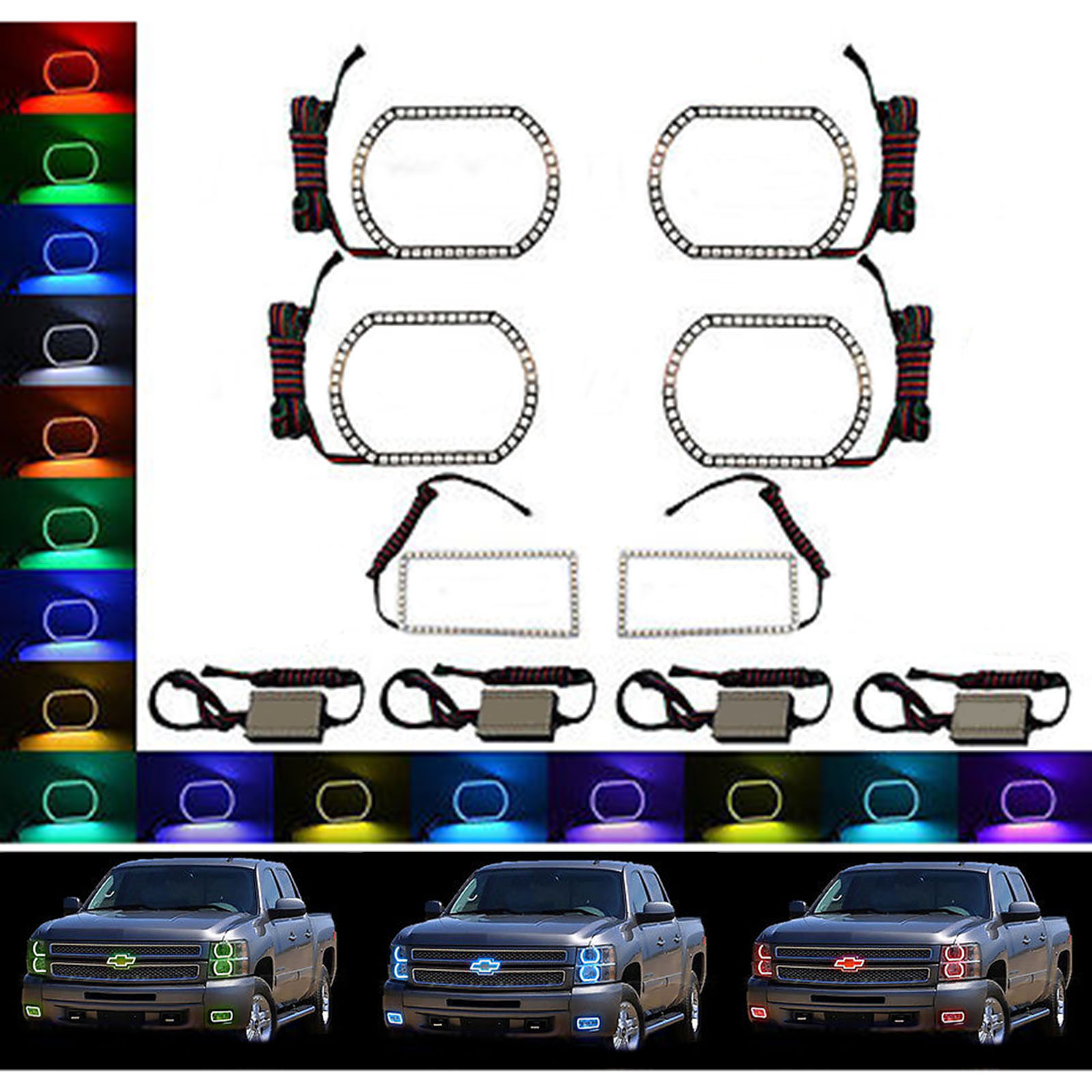 Details about 11-11 Chevy Silverado Multi-Color Changing LED Headlight Fog  Light Halo Ring Set | multi chevrolet