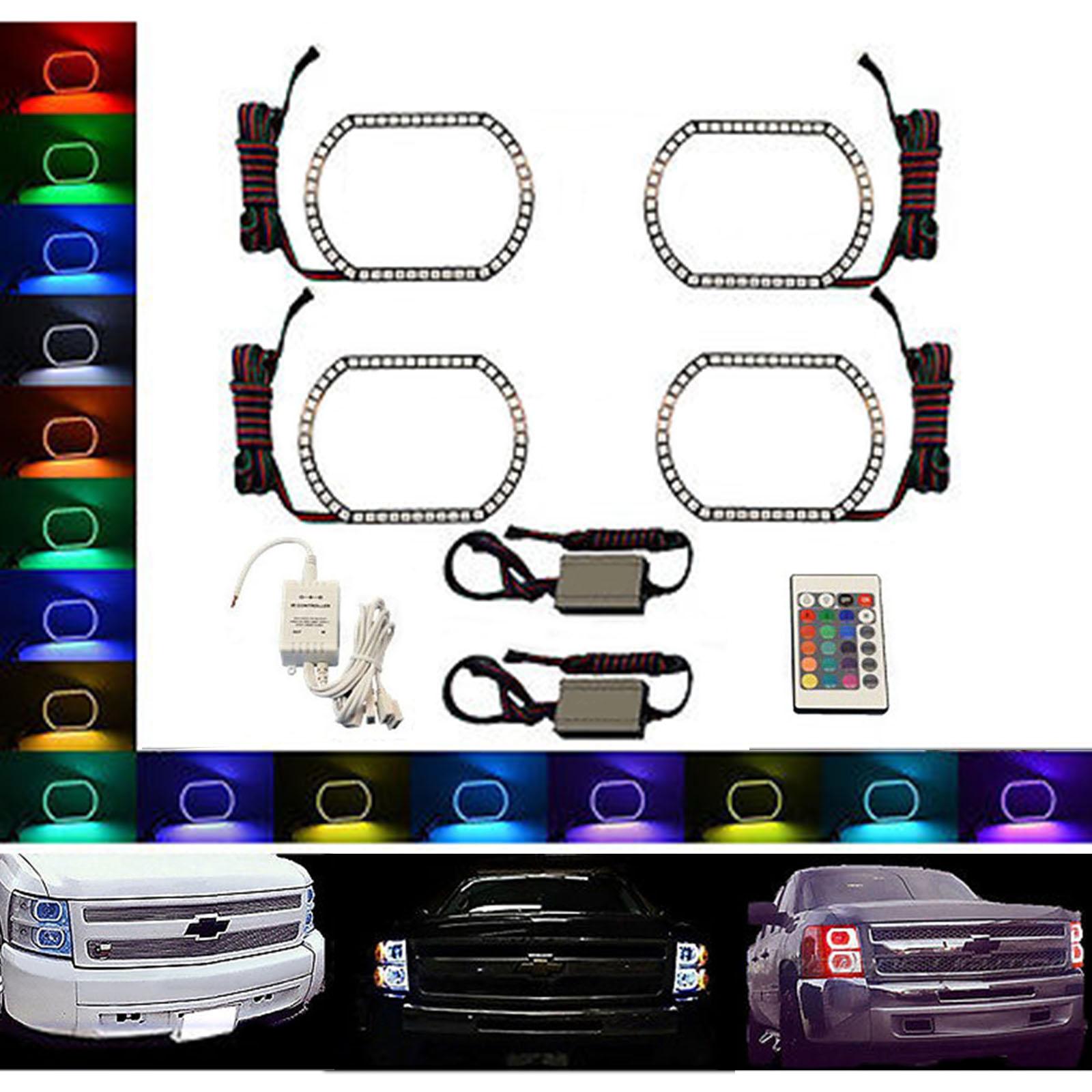 07 14 Chevy Silverado Multi Color Changing Shift Led Rgb Headlight