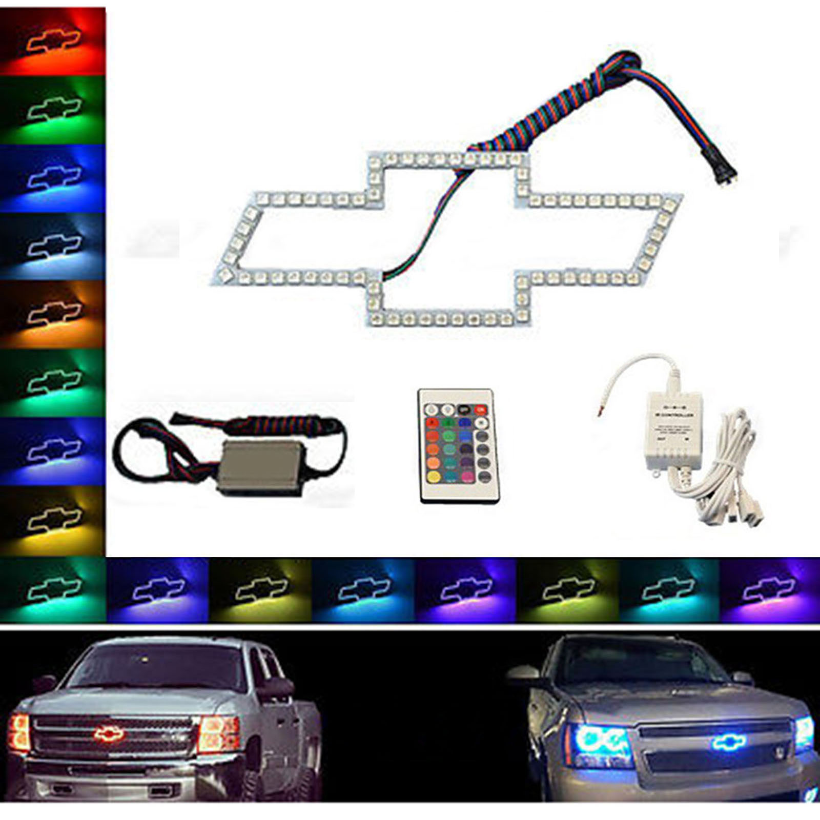 Led Light Up Chevy Grill Kit 2019 2020 Silverado Emblem Color Changing Chevrolet