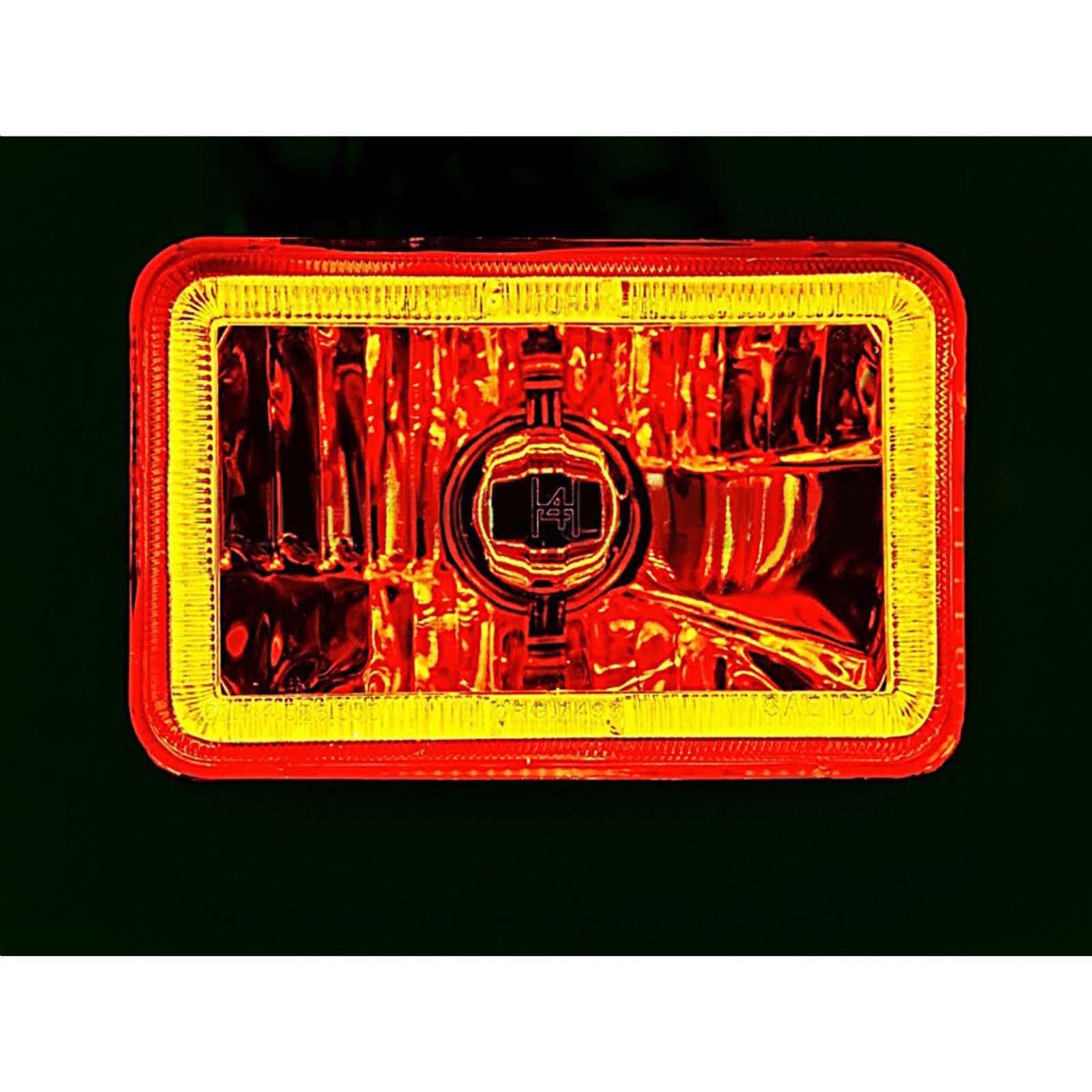 4X6 Amber LED COB Halo Crystal Glass//Metal Headlight Light Bulb Headlamp EACH