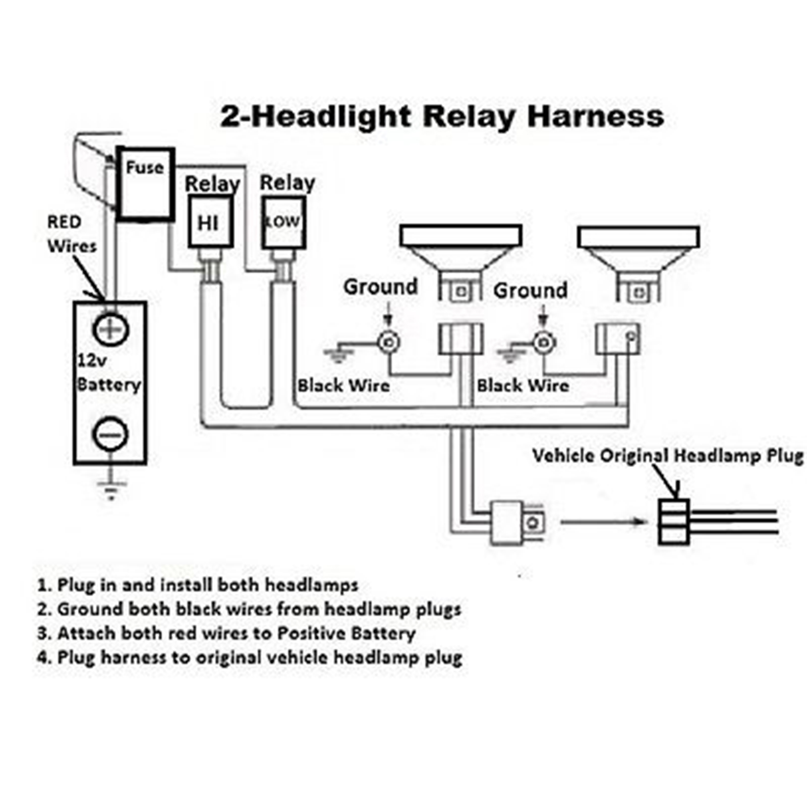 H4 9007 Headlight Headlamp Relay Harness Wiring 12v Kit 636676502540 9005 9006 Diagram