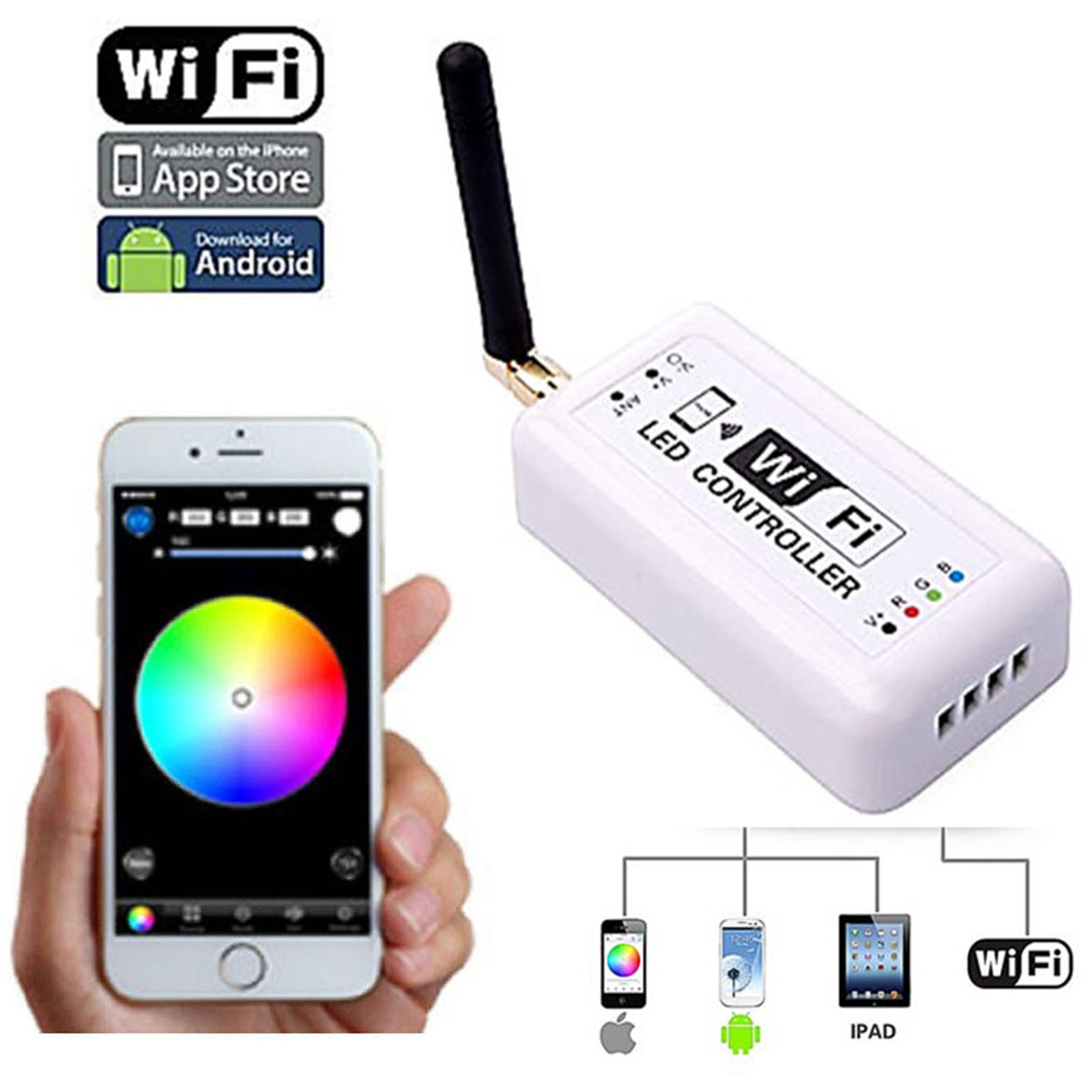Details about WiFi Cell Phone Apple iOS Android RGB LED Color Changing  Light Remote Controller